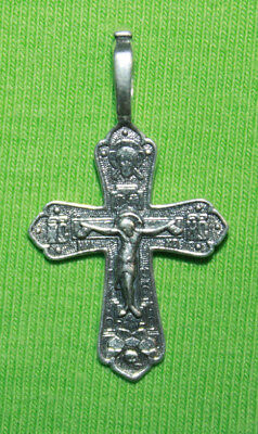 Vintage Crucifix 925 Silver Cross Pendant Orthodox Crosses Collecting #142