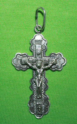 Vintage Crucifix 925 Silver Cross Pendant Orthodox Crosses Collecting #135