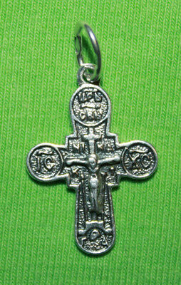 Vintage Crucifix 925 Silver Cross Pendant Orthodox Crosses Collecting #140