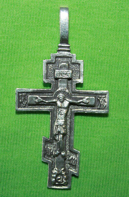 Vintage Crucifix 925 Silver Cross Pendant Orthodox Crosses Collecting #114