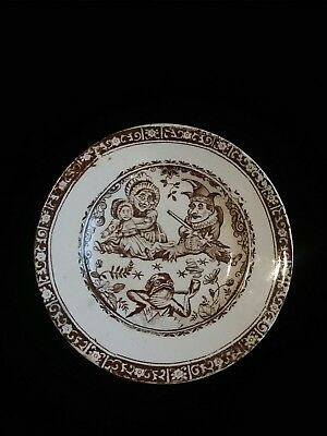 C. ALLERTON & SONS STAFFORDSHIRE ENGLISH CHILD'S PUNCH And JUDY SAUCER c1880