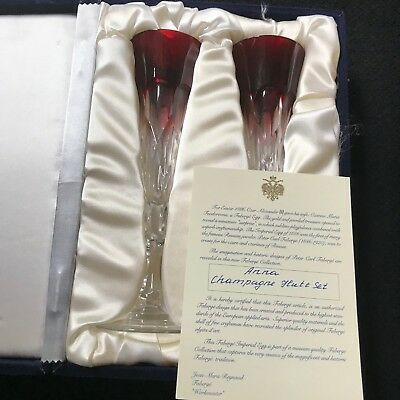 Faberge Anna Champagne Flutes, Ruby Red Clear Cased Crystal, Jpid