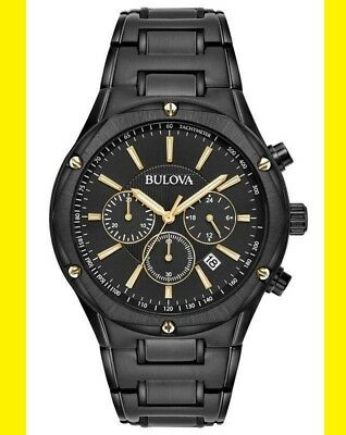 98B287 BULOVA Men's Black Gold Stainless Steel Dress Style Chronograph Watch