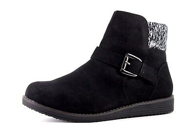 ebe0c14bbe83 Evans Anjali Womens UK9 EEE Extra Wide Black Suedette Knitted Collar Ankle  Boots