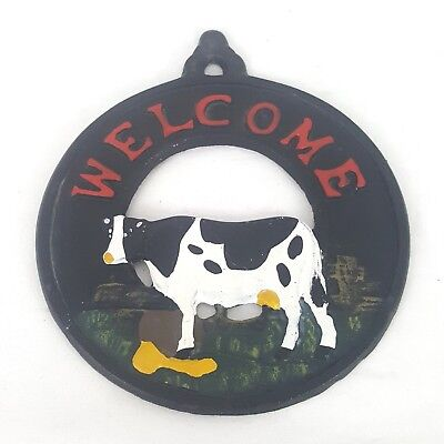 Rustic Cast Iron Dairy Cow Welcome Sign Wall Mount Plaque Ranch Farm