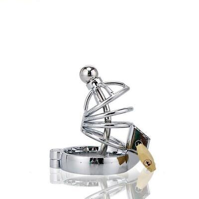 Metal Cage Male Chastity Belt CB Device Cock Lock Urethral Beads