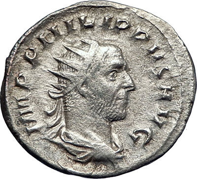 Philip I 'the Arab' 247AD Silver  Ancient Roman Coin Annona  Grain supply i73272