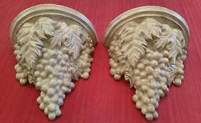 "2 VINTAGE ORNATE GRAPES, HEAVY PLASTER WALL MOUNT SCONCE. GORGEOUS 12x7×7"" 8lb."