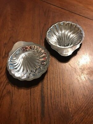 """Oneida Silversmiths Shell Candy Dishes Trays Set of 2 Vintage 7 1/2"""""""