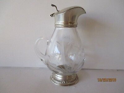 Vintage Etched Glass Cream Pitcher - Silver Plated - Believe New - Free Shipping