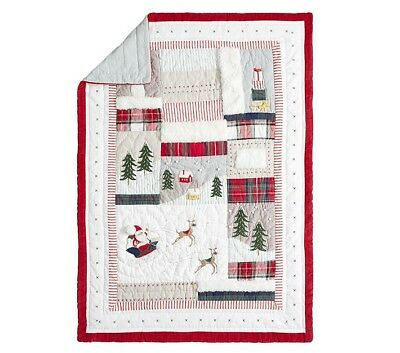 NEW Pottery Barn Kids Heritage Santa Toddler Quilt, Red - Retail Price $149
