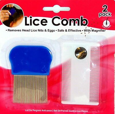 2 x Lice Nit Combs Steel Teeth Fine Removal  With Magnifier Glass Gets Eggs nits