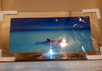 Moving Water Picture DOLPHINS Mirror Framed W/ Light & Sound 38x20 Nice