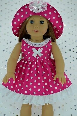 """Doll Clothes For 18"""" American Girl~Our Generation~Journey POLKA DOT DRESS~HAT"""