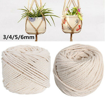 3/4/5/6mm Macrame Rope Natural Cotton Twisted Cord Artisan Hand Craft Beige AU