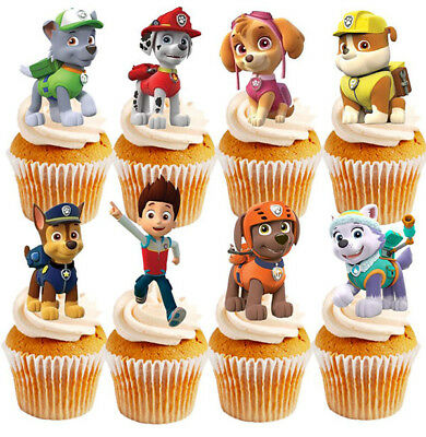 16 PAW PATROL STAND UP Edible Cupcakes Cup Cakes Decoration Party Toppers Images