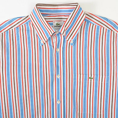 17799238 Lacoste Blue Red Brown Striped Sport Shirt Long Sleeve Mens 40 Medium M