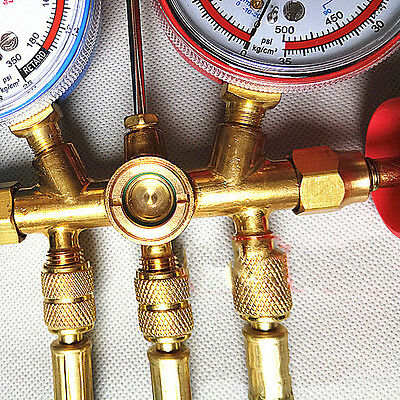 R22 R134 Air Condition Refrigerant A/C Manifold Gauge Set Brass Adapters New MWT