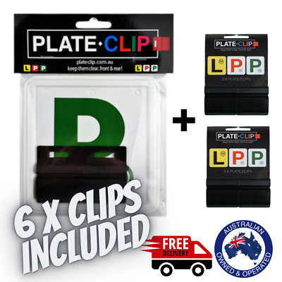 2 x Black Plate Clips + 2 x Green P Plates | FREE Postage | NSW Only