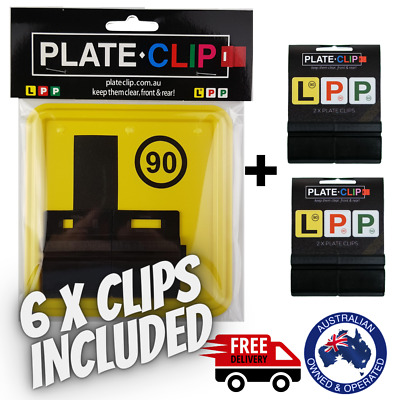 2 x White Plate Clips + 2 x Green P Plates | FREE Postage | NSW Only