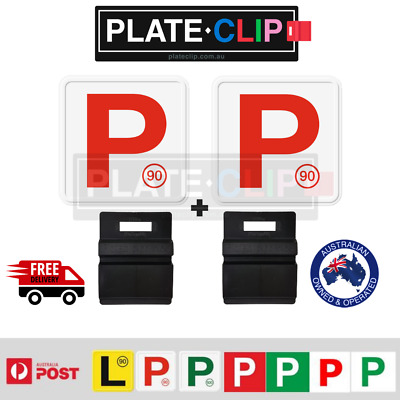 2 x Black Plate Clips + 2 x Red P Plates | FREE Postage | NSW Only