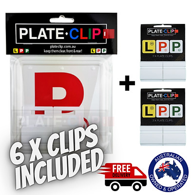 2 x White Plate Clips + 2 x Red P Plates | FREE Postage | NSW Only