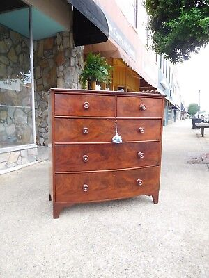 Outstanding Mahogany Bow Front Chest 19th Century