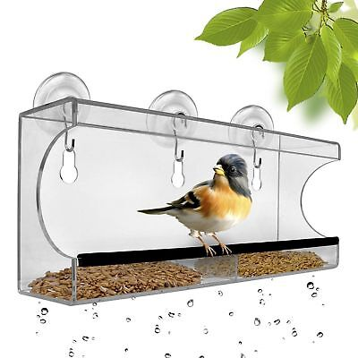 Large Window Bird Feeder Acrylic Hanging Seed Mount Tray Cups See Through Clear