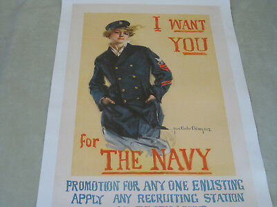 """Original Wwi Recruiting Poster By Howard Christy """"I Want You For The Navy!"""" #1"""