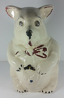 McCoy Pottery Bear Cookie Jar 11in Polar Vest Bow Tie Vintage Canister USA