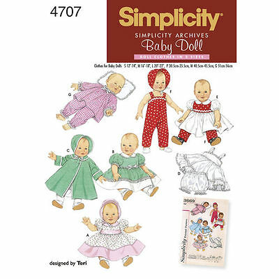 """Simplicity Sewing Pattern 4707 Baby Doll Clothes (12""""-14"""") -(16""""-18"""") -(20-22"""")"""