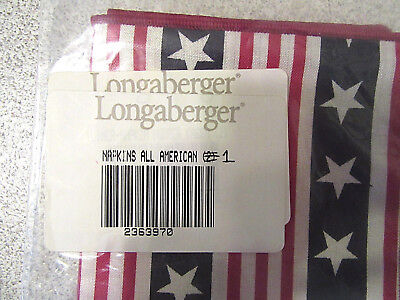 Longaberger Napkin, 1 Only, All American-Stars & Stripes Fabric (22363970) NIP