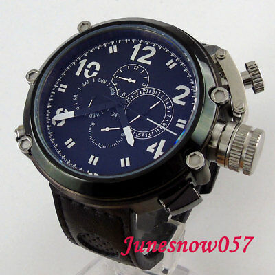 50MM PVD PARNIS black sterile dial date week big crown Automatic men's watch