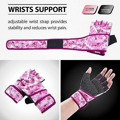 Sports Gloves Wrist Support Gym Ladies Workout Weightlifting Pink Womens Gym US