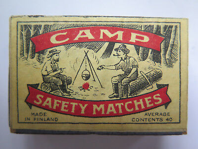 CAMP EMPTY MATCHBOX SAFETY MATCHES UNUSED CONDITION MADE FINLAND 1940s CAMPFIRE
