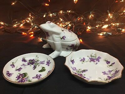 Set Of 3 Vintage Hammersley Bone China Victorian Violets Saucers Frog Dish