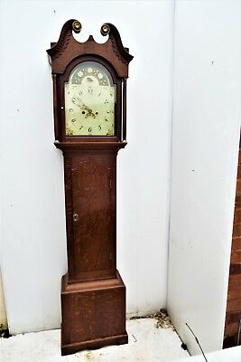 Country oak & mahogany 8 day Georgian Grandfather clock