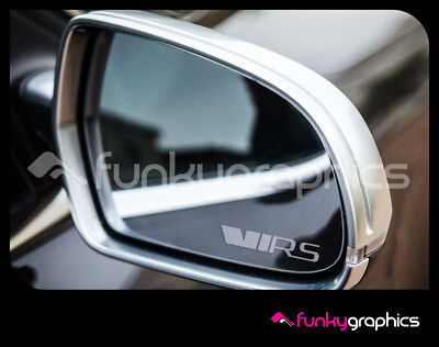 SKODA OCTAVIA VRS NEW STYLE MIRROR DECALS STICKERS GRAPHICS x 3 IN SILVER ETCH