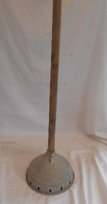 VINTAGE 90cms POSSER Galvanised WOODEN HANDLE Antique METAL Tin Laundry Washing