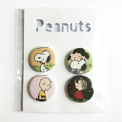 Peanuts Snoopy Charlie Brown Badges Set Of Four