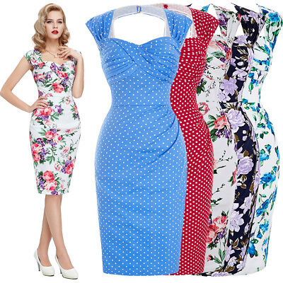 Bp Donna 1950s Anni '60 Rétro Swing Wiggle Vintage Cocktail Party Tubino Abito