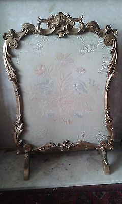 Antique  Giltwood Fire Screen with  Needlework Panel  and Glass