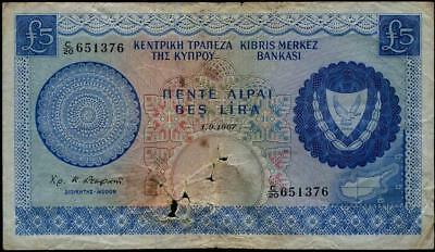 Cyprus 5 pounds Central Bank Note 1967 Pick #p44 ...............................