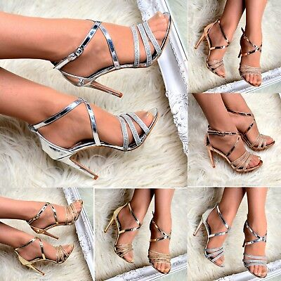 Ladies Diamante Heeled Party Shoes High Heel Strappy Sandals for Women Size 3-8