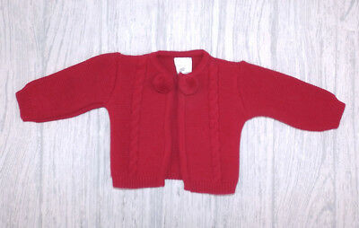 9897606796495 Pex Elsa Baby Girls Boys Spanish Style Red Knitted Pom Pom Cable Cardigan