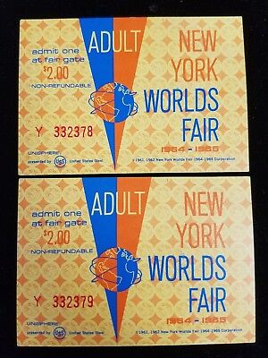 UNUSED PAIR ADULT $2 PASS TICKETS 1964-65 NEW YORK WORLD'S FAIR SEQUENTIAL #s