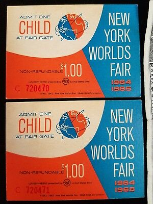 UNUSED PAIR CHILD $1 PASS TICKETS 1964-65 NEW YORK WORLD'S FAIR SEQUENTIAL #s