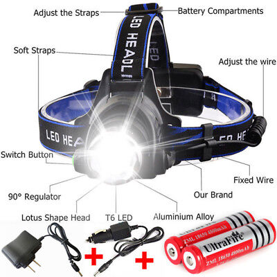 Zoom 90000LM Rechargeable T6 LED Headlamp + 18650 Battery Headlight Flashlight