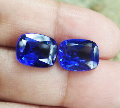 Pair 2pcs. 6.45cts. 10x8 mm. Cushion Blue Sapphire Excellent Cut (Earring Set)