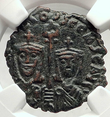 BASIL I the Macedonian Son CONSTANTINE Ancient Byzantine Follis Coin NGC i73088